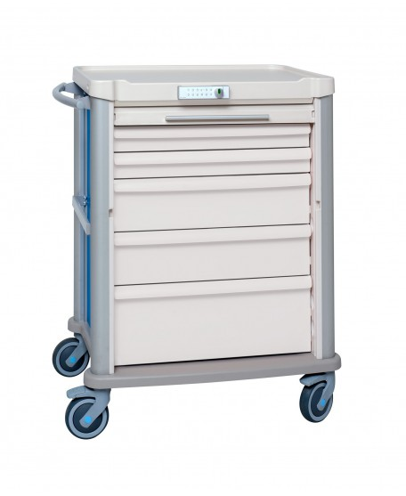 TREATMENT CART EOLIS 600X400 WITH ROLLING SHUTTER AND CODE LOCK - 9 LEVELS - EQUIPPED