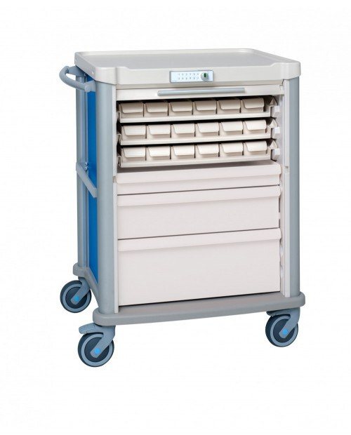 MEDICATION CART EOLIS 600X400 WITH 18 PATIENTS WITH ROLLING SHUTTER AND CODE LOCK