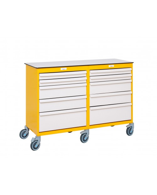MOBILE WORKSTATION WITH DRAWERS 2 COLUMNS 9 LEVELS EQUIPPED