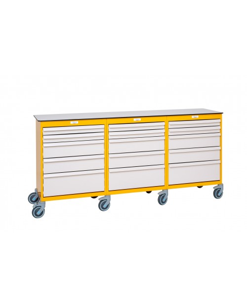 MOBILE WORSTATION WITH DRAWERS 3 COLUMNS 9 LEVELS EQUIPPED