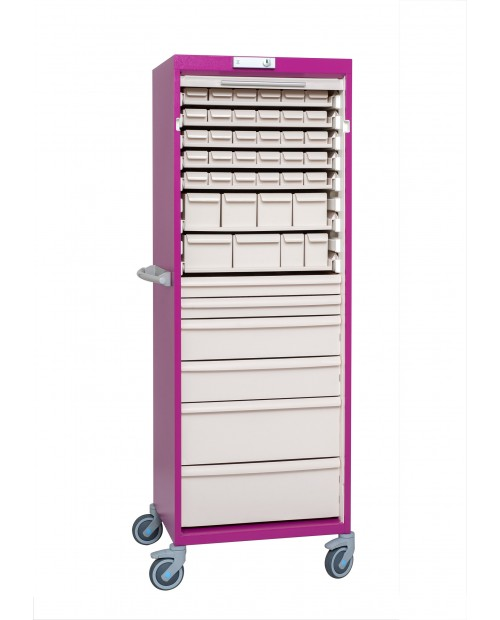 ARMOIRE SIMPLE A VOLET VERROUILLAGE A CLE - 21 MODULES - LARGEUR 600- EQUIPE