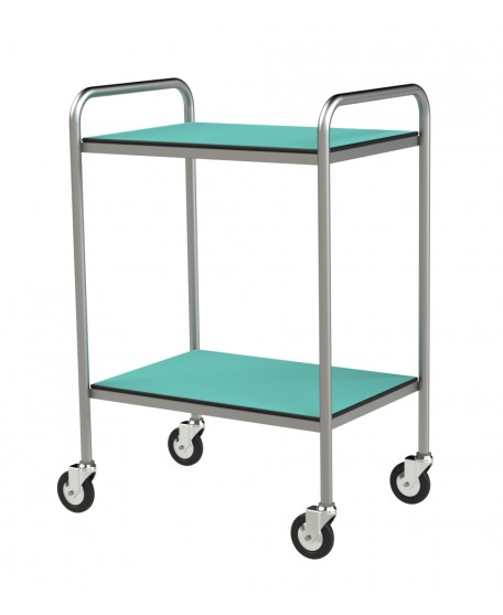STAINLESS STEEL TROLLEY WITH RESIN TRAYS WITH HANDLES