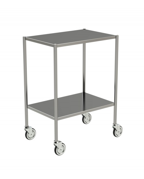STAINLESS STEEL TROLLEY WITH TURNED EDGES
