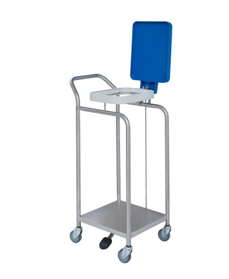 STAINLESS STEEL LINEN TROLLEY  WITH PEDAL AND LID - 1 BAG