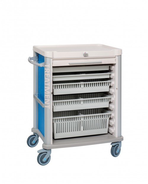 TREATMENT CART EOLIS 600X400 WITH ROLLING SHUTTER AND KEY LOCK - 9 LEVELS - EQUIPPED
