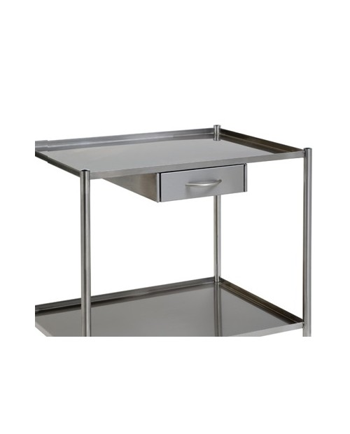 Stainless steel drawer on slidebars for trolley