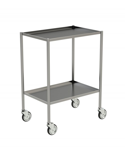 STAINLESS STEEL TROLLEY WITH RAISED EDGES