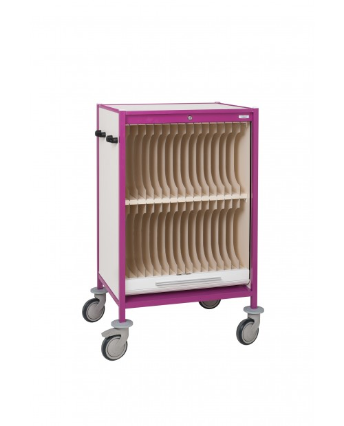 TROLLEY FOR MEDICAL HANGING FILES WITH 2 LEVELS OF 16 COMPARTMENTS