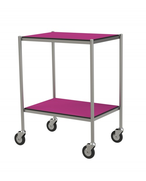 STAINLESS STEEL TROLLEY WITH RESIN TRAYS