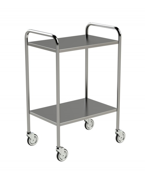 STAINLESS STEEL TROLLEY WITH TURNED UP EDGES AND HANDLES